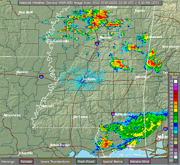 Radar Image for Severe Thunderstorms near Pearl River, MS at 7/1/2020 5:35 PM CDT