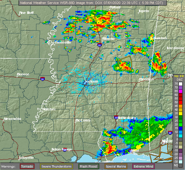 Radar Image for Severe Thunderstorms near Pearl River, MS at 7/1/2020 5:45 PM CDT