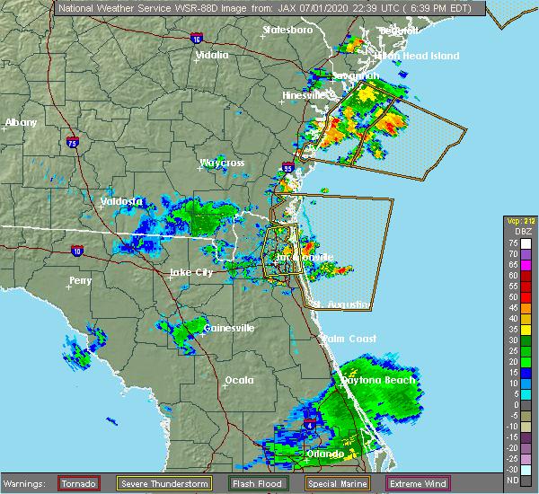 Radar Image for Severe Thunderstorms near Jacksonville, FL at 7/1/2020 6:47 PM EDT