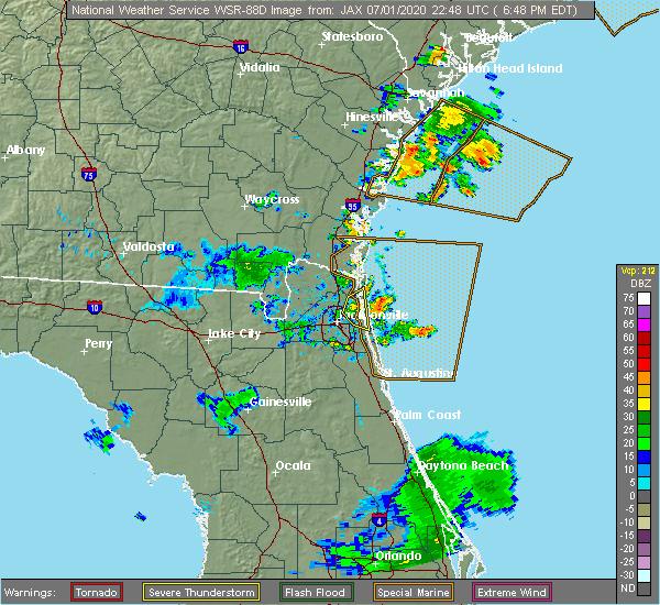 Radar Image for Severe Thunderstorms near Jacksonville, FL at 7/1/2020 6:55 PM EDT
