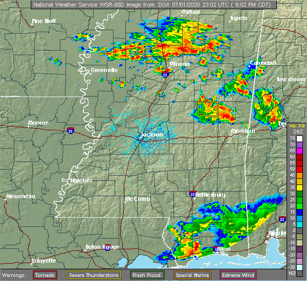 Radar Image for Severe Thunderstorms near Pearl River, MS at 7/1/2020 6:10 PM CDT