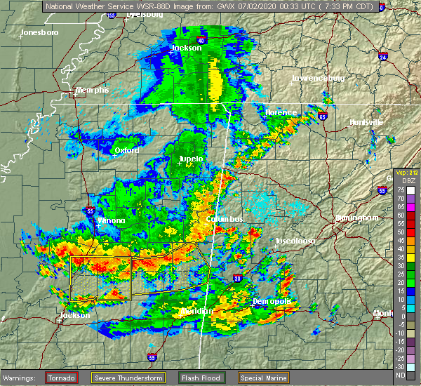 Radar Image for Severe Thunderstorms near Pearl River, MS at 7/1/2020 7:36 PM CDT