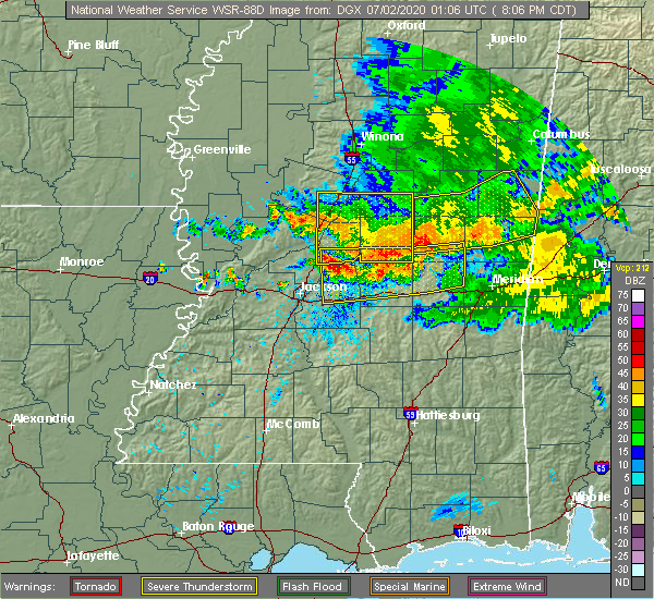 Radar Image for Severe Thunderstorms near Flowood, MS at 7/1/2020 8:14 PM CDT