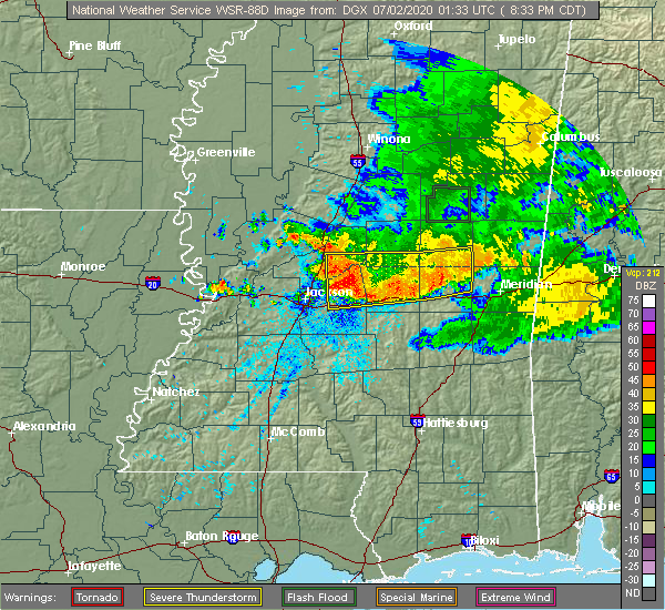 Radar Image for Severe Thunderstorms near Flowood, MS at 7/1/2020 8:38 PM CDT