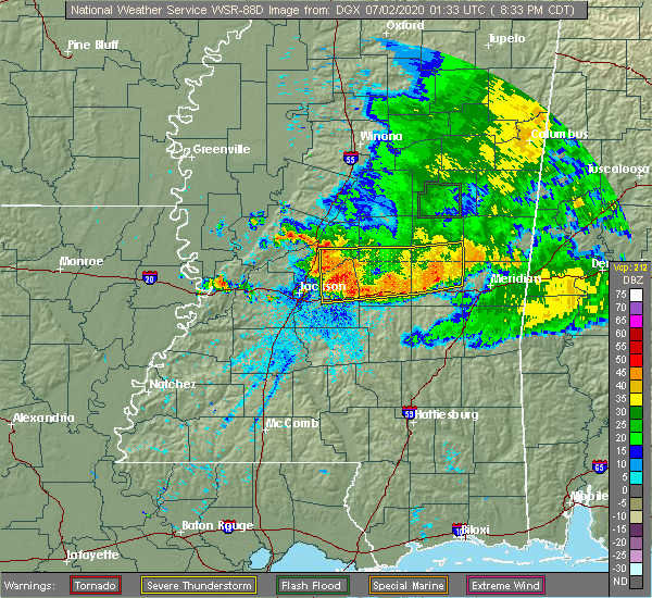 Radar Image for Severe Thunderstorms near Bay Springs, MS at 7/1/2020 8:42 PM CDT