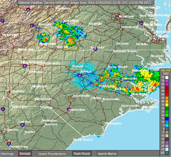Radar Image for Severe Thunderstorms near Nathalie, VA at 7/1/2020 10:38 PM EDT