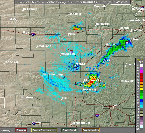 Radar Image for Severe Thunderstorms near Cedar Vale, KS at 7/2/2020 10:20 AM CDT