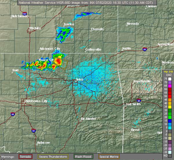 Radar Image for Severe Thunderstorms near Wynona, OK at 7/2/2020 11:36 AM CDT