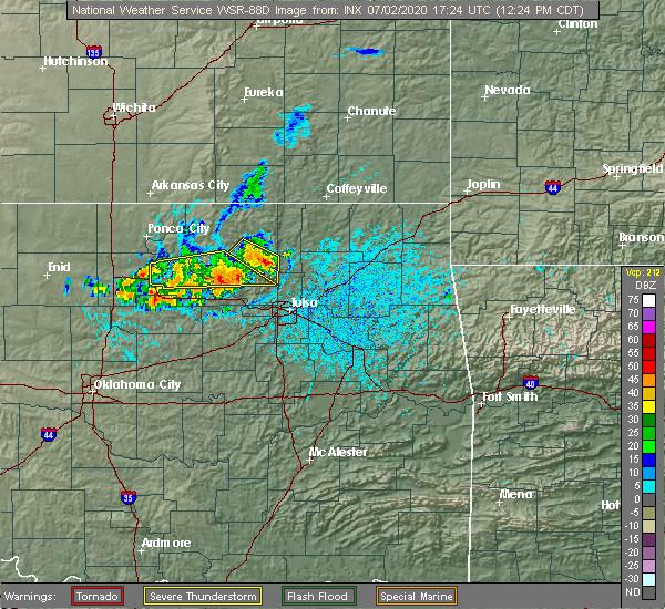 Radar Image for Severe Thunderstorms near Avant, OK at 7/2/2020 12:29 PM CDT