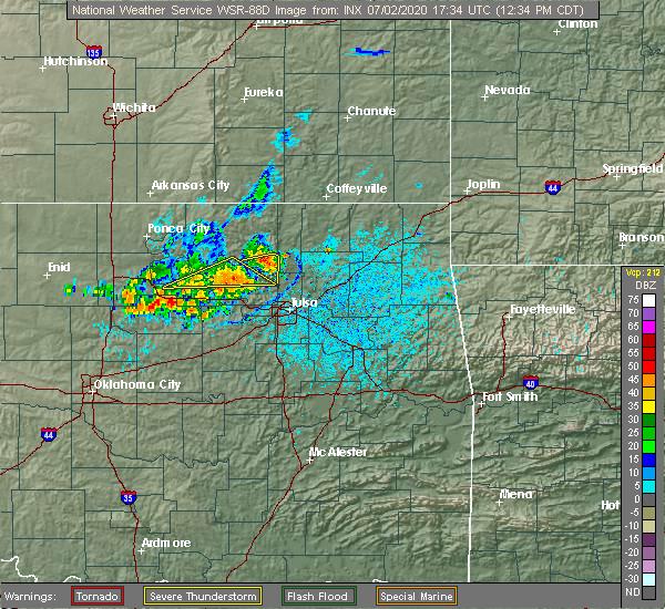 Radar Image for Severe Thunderstorms near Avant, OK at 7/2/2020 12:38 PM CDT