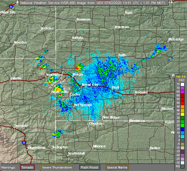 Radar Image for Severe Thunderstorms near Newell, SD at 7/2/2020 1:56 PM MDT