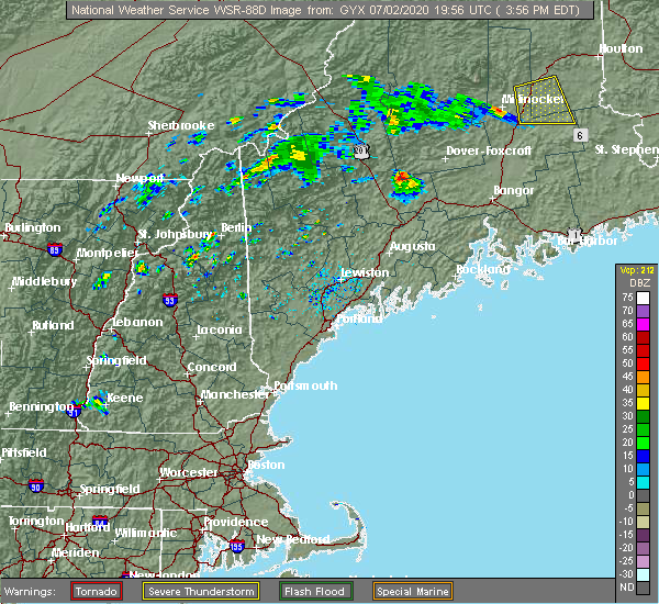 Radar Image for Severe Thunderstorms near Hartland, ME at 7/2/2020 4:01 PM EDT
