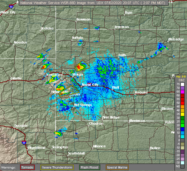 Radar Image for Severe Thunderstorms near Hill City, SD at 7/2/2020 2:09 PM MDT