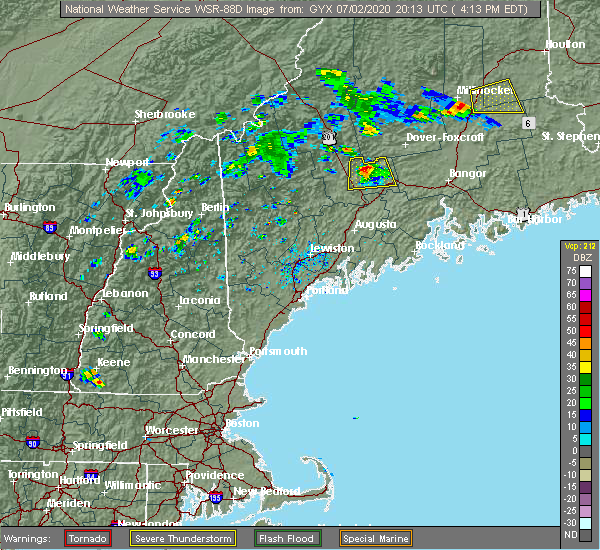 Radar Image for Severe Thunderstorms near Hartland, ME at 7/2/2020 4:22 PM EDT