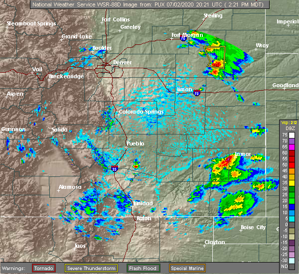 Radar Image for Severe Thunderstorms near Lamar, CO at 7/2/2020 2:25 PM MDT