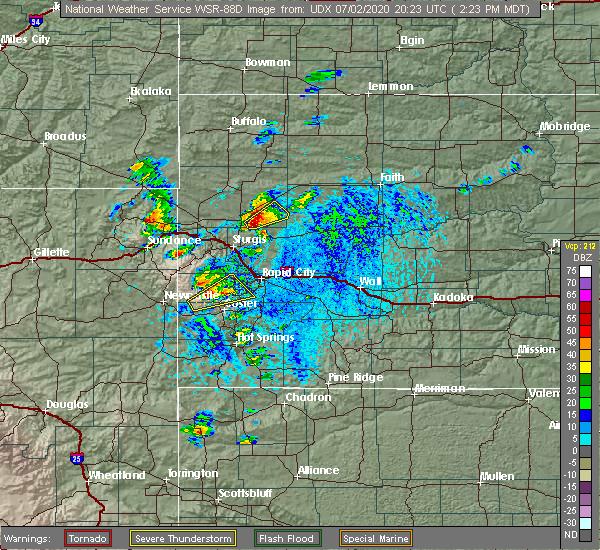 Radar Image for Severe Thunderstorms near Johnson Siding, SD at 7/2/2020 2:28 PM MDT