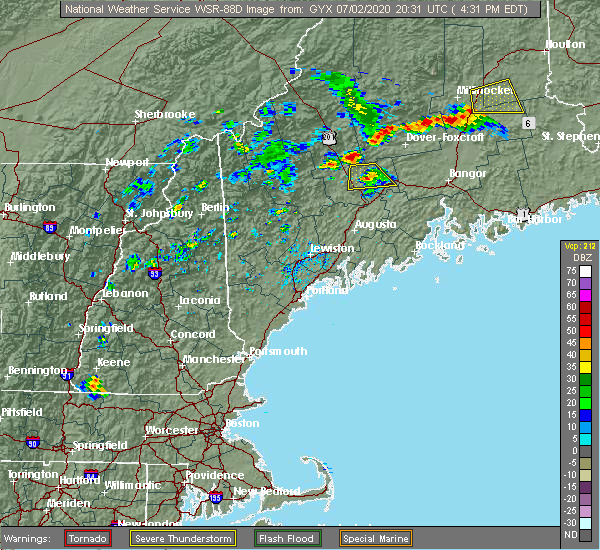 Radar Image for Severe Thunderstorms near Hartland, ME at 7/2/2020 4:37 PM EDT