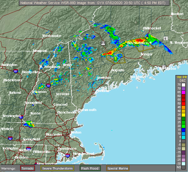 Radar Image for Severe Thunderstorms near Hartland, ME at 7/2/2020 4:56 PM EDT