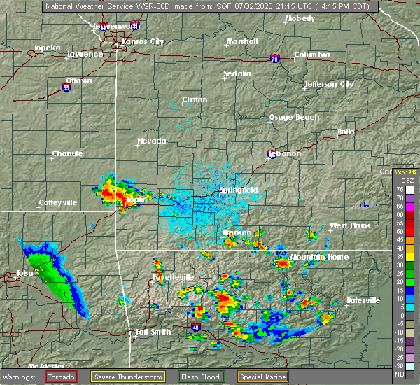 Radar Image for Severe Thunderstorms near Joplin, MO at 7/2/2020 4:21 PM CDT