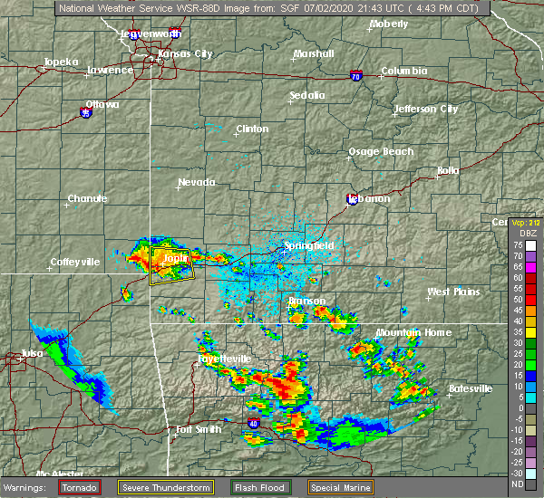 Radar Image for Severe Thunderstorms near Joplin, MO at 7/2/2020 4:48 PM CDT