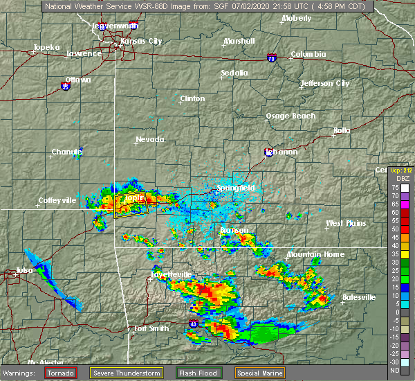 Radar Image for Severe Thunderstorms near Joplin, MO at 7/2/2020 5:02 PM CDT