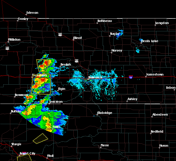 Radar Image for Severe Thunderstorms near Richardton, ND at 7/2/2020 4:27 PM MDT