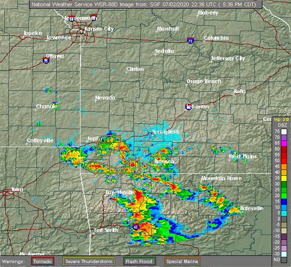 Radar Image for Severe Thunderstorms near La Russell, MO at 7/2/2020 5:41 PM CDT