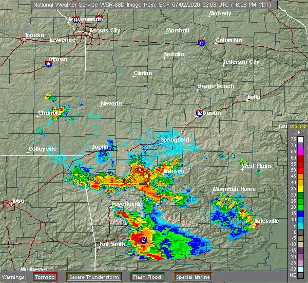 Radar Image for Severe Thunderstorms near Washburn, MO at 7/2/2020 6:14 PM CDT