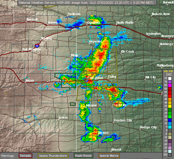 Radar Image for Severe Thunderstorms near Wallace, KS at 7/2/2020 5:26 PM MDT