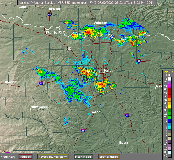 Radar Image for Severe Thunderstorms near Palmer, TX at 7/2/2020 6:29 PM CDT