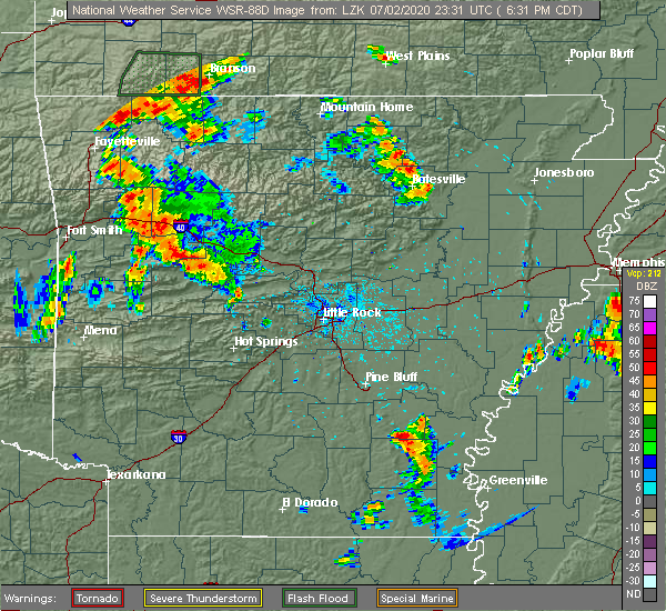 Radar Image for Severe Thunderstorms near Rye, AR at 7/2/2020 6:36 PM CDT