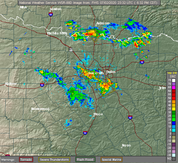 Radar Image for Severe Thunderstorms near Palmer, TX at 7/2/2020 6:39 PM CDT