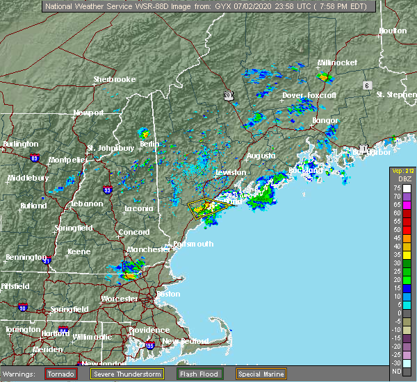 Radar Image for Severe Thunderstorms near Standish, ME at 7/2/2020 8:01 PM EDT