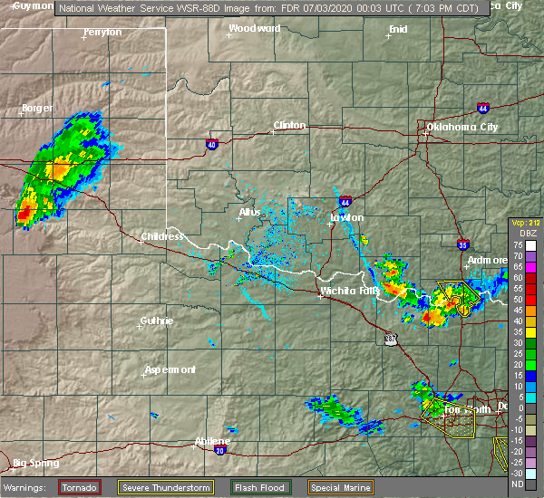 Radar Image for Severe Thunderstorms near Sugden, OK at 7/2/2020 7:08 PM CDT