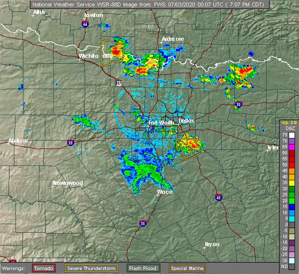 Radar Image for Severe Thunderstorms near Oak Leaf, TX at 7/2/2020 7:13 PM CDT