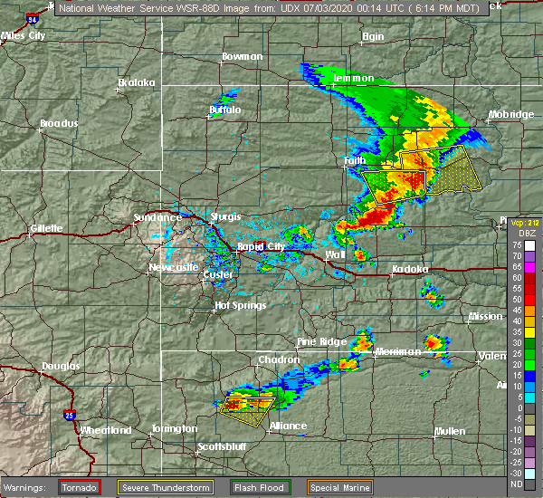 Radar Image for Severe Thunderstorms near Eagle Butte, SD at 7/2/2020 6:23 PM MDT