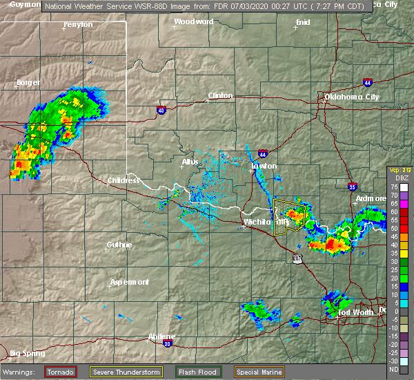 Radar Image for Severe Thunderstorms near Sugden, OK at 7/2/2020 7:28 PM CDT