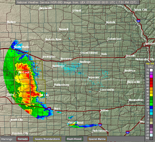 Radar Image for Severe Thunderstorms near Maywood, NE at 7/2/2020 7:58 PM CDT