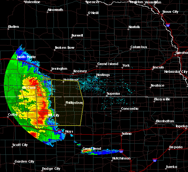 Radar Image for Severe Thunderstorms near Damar, KS at 7/2/2020 8:06 PM CDT
