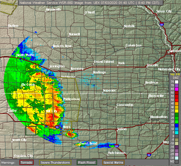 Radar Image for Severe Thunderstorms near Damar, KS at 7/2/2020 8:44 PM CDT