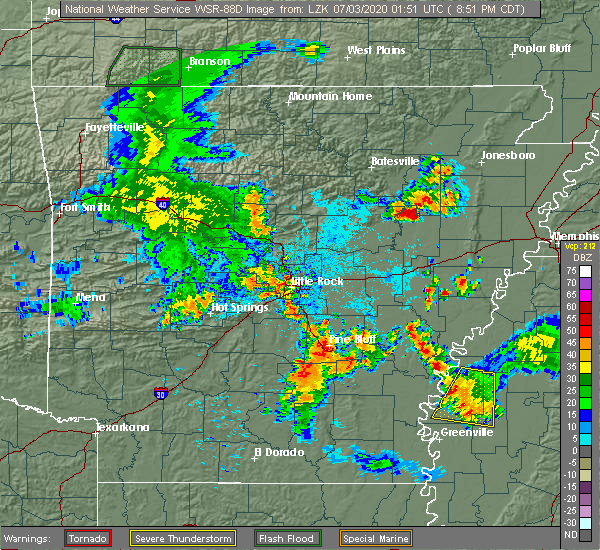 Radar Image for Severe Thunderstorms near Boyle, MS at 7/2/2020 8:54 PM CDT