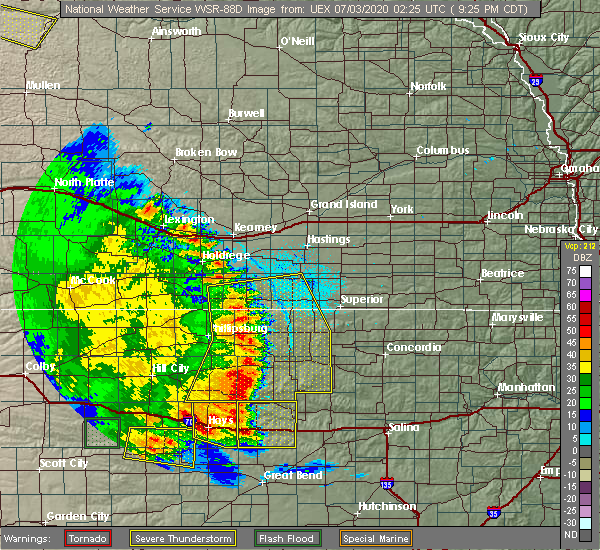 Radar Image for Severe Thunderstorms near Alton, KS at 7/2/2020 9:28 PM CDT