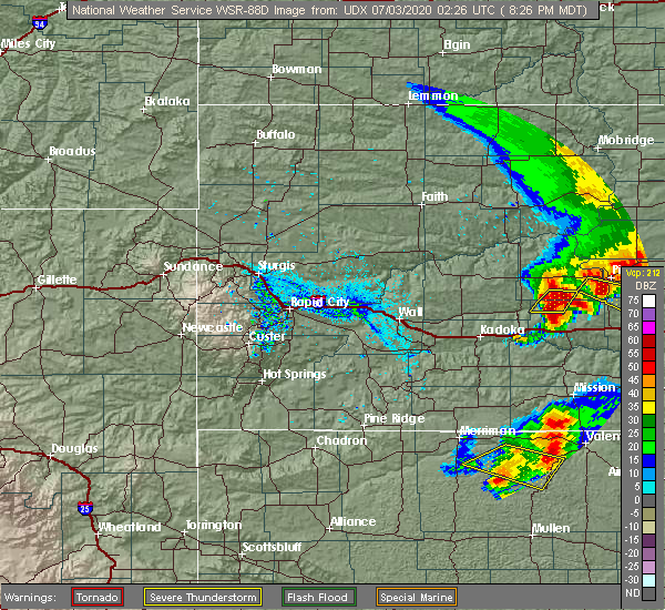 Radar Image for Severe Thunderstorms near Vivian, SD at 7/2/2020 9:32 PM CDT