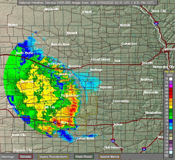Radar Image for Severe Thunderstorms near Dorrance, KS at 7/2/2020 9:37 PM CDT