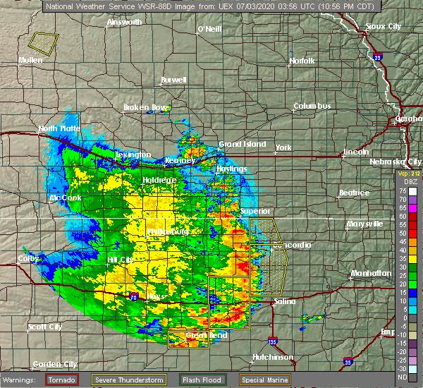 Radar Image for Severe Thunderstorms near Miltonvale, KS at 7/2/2020 11:05 PM CDT