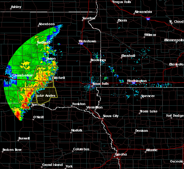 Radar Image for Severe Thunderstorms near Mitchell, SD at 7/3/2020 1:09 AM CDT