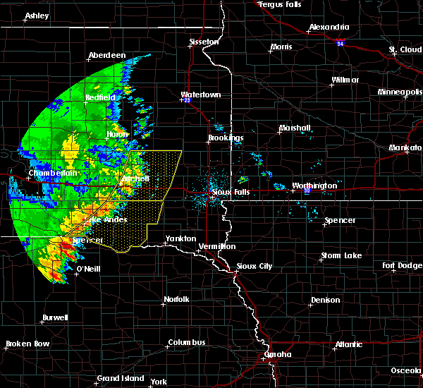 Radar Image for Severe Thunderstorms near Fedora, SD at 7/3/2020 1:38 AM CDT