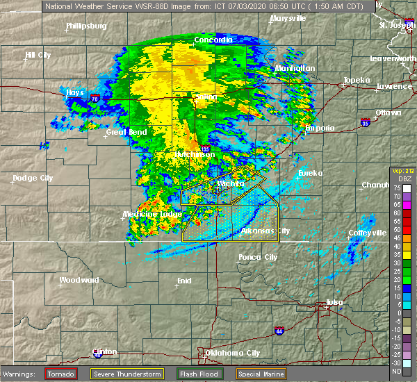 Radar Image for Severe Thunderstorms near Geuda Springs, KS at 7/3/2020 1:57 AM CDT