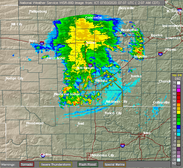 Radar Image for Severe Thunderstorms near Andover, KS at 7/3/2020 2:09 AM CDT