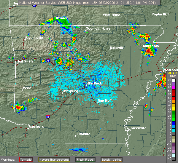 Radar Image for Severe Thunderstorms near Atkins, AR at 7/3/2020 4:03 PM CDT